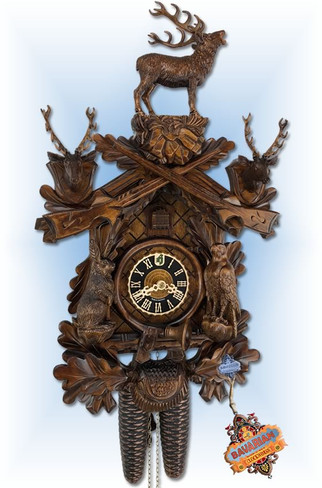 Hones | 837-4nu | 21''H | Standing Buck | Traditional | cuckoo clock | full view