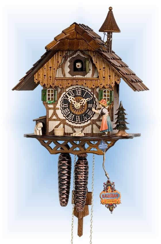 Hones | 1294 | 12''H | Bell Ringer | Chalet style | cuckoo clock | full view