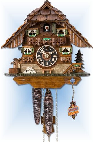 Hones   1747   9''H   Black forest House   Chalet style   cuckoo clock   full view