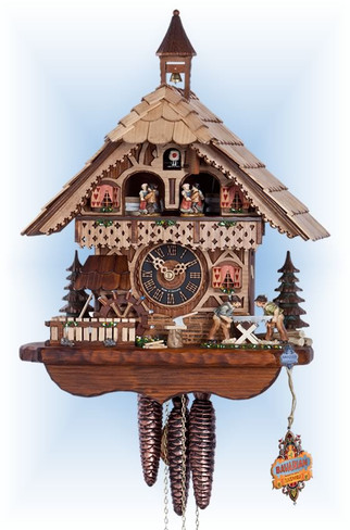 Hones | 6258t | 15''H | Happy Saw Mill | Chalet style | cuckoo clock | full view