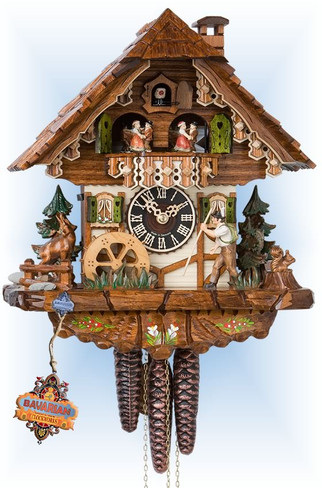 Hones | 6752t | 12''H | Happy Wanderer | Chalet style | cuckoo clock | full view