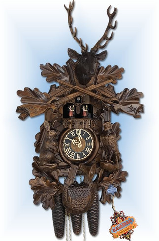 Hones clock | 8634-5tnu | 24''H | Trophy Buck | Traditional | cuckoo clock | full view