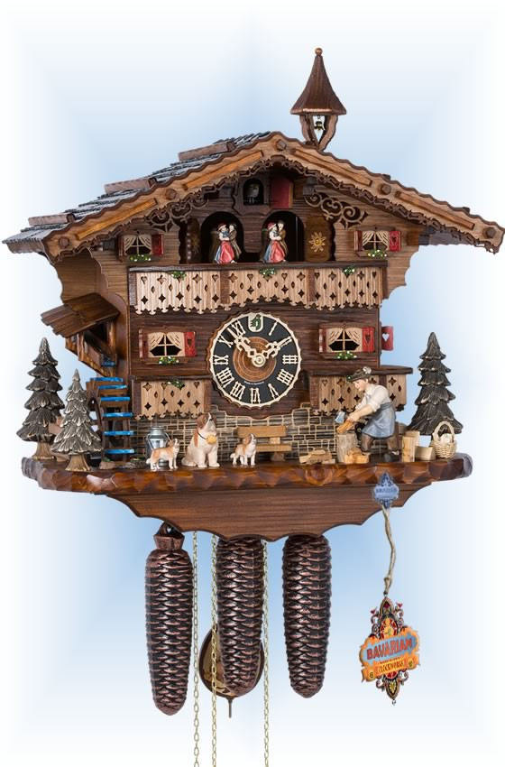 Hones | 86245t | 13''H | Dog & Woodsman | Chalet style | cuckoo clock | full view