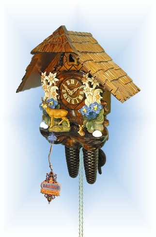 August Schwer | 2.0403.01.c | 12''H | Edelweiss Deer | Chalet style | cuckoo clock | full view