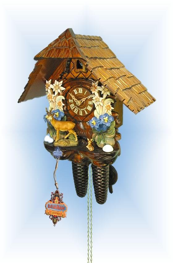 August Schwer | 2.0403.01.c | 12''H | Edelweiss Deer | Chalet style | cuckoo clock | full view