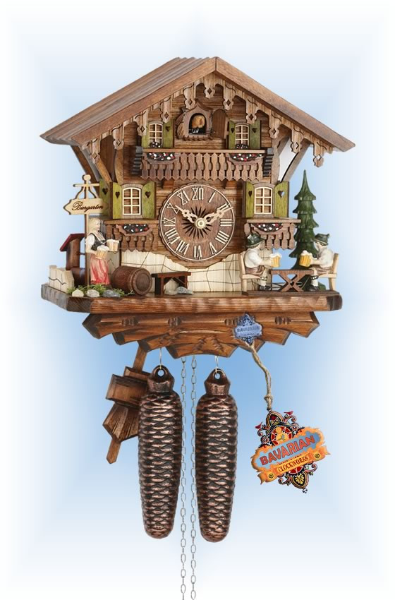Hekas | 884 | 12''H | Biergarten | Chalet style | cuckoo clock | full view