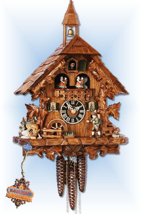 Hones | 1343 | 16''H | Strolling Hunter | Chalet style | hones cuckoo clock | full view