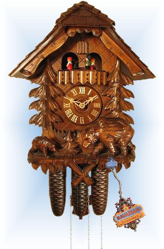 Rombach & Haas | 8391 | 17''H | Bear & Cub | Chalet style | cuckoo clock | full view