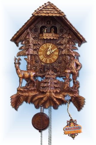 August Schwer | 7.8190.01.p | 25''H | Hunters Lodge | Chalet style | cuckoo clock | full view