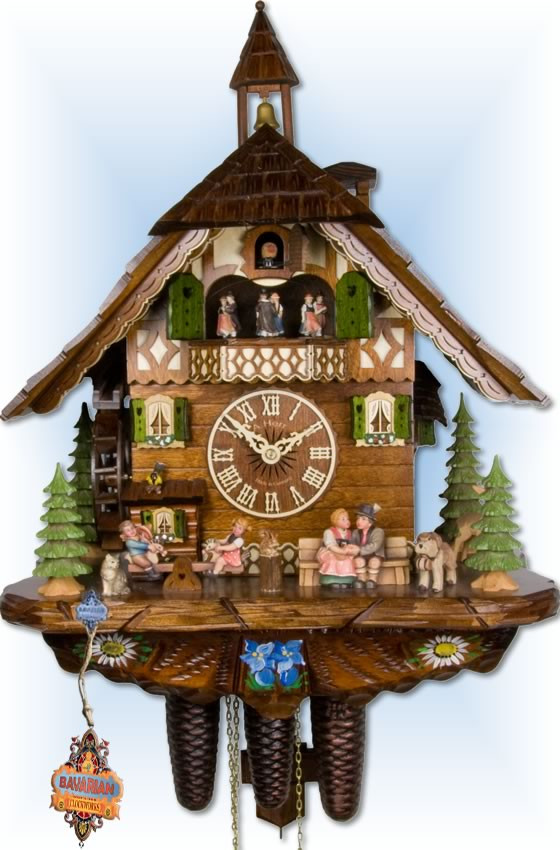 Adolf Herr | 808-1 8tmt | 21''H | Happy Family | Chalet style | coo coo clock | full view