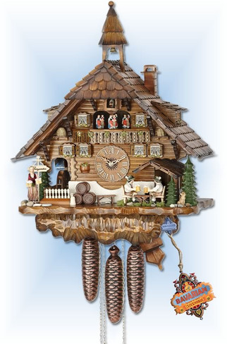 Hekas | 3736/8 | 24''H | Big Biergarten | Chalet style | cuckoo clock | full view