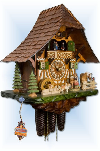 Adolf Herr | 447/1-8tmt | 19''H | Little Horse Farm | Chalet style | cuckoo clock | left