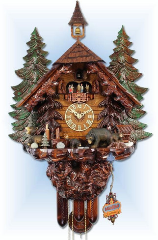 Adolf Herr |UK51-8TMT | 31''H | Big Bear Family | Chalet style | cuckoo clock | full view