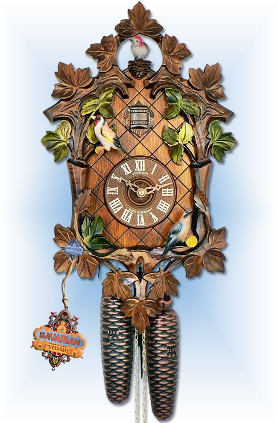 Anton Schneider 8 Day Moving Bird Springtime 17'' cuckoo clock - full view