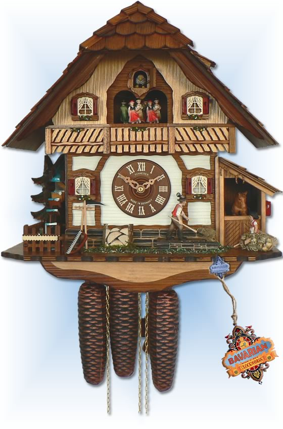 Anton Schneider 8 Day Black Forest Farm 17'' cuckoo clock - full view