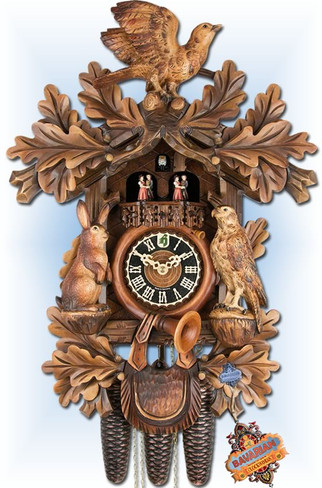 Hones | 86277-5TNC | 21 inch | Forest Hunter | Hand Carved | cuckoo clock | full view