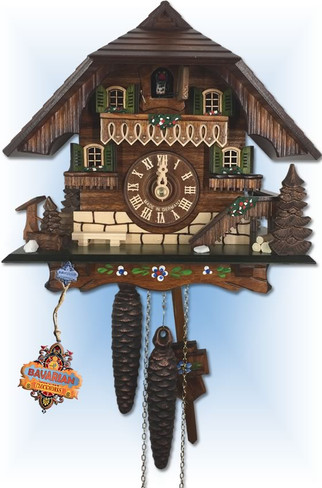 August Schwer | 1.0312.01.C | 9 inch | Cozy Forest House | Chalet | cuckoo clock | full view
