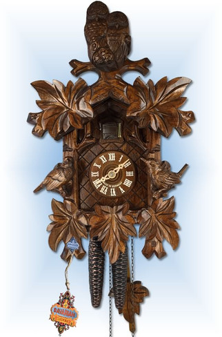 August Schwer | 1.8511.01.P | 13 inch | Cozy Owls | Hand Carved | cuckoo clock | front view