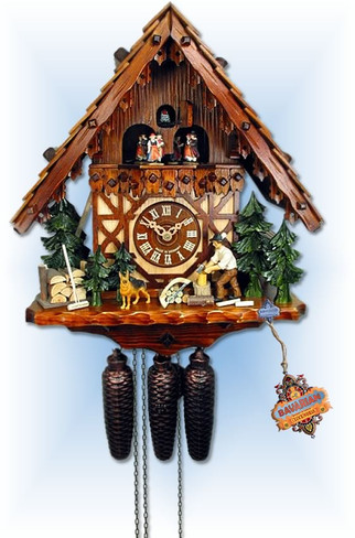 August Schwer   5.0750.01.P   16 inch   Dog and Lumberjack   Chalet   cuckoo clock   full view