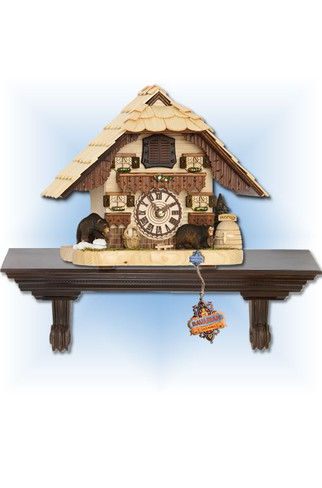 Trenkle | 4203 QM | 8 inch | Honey Bear Mantle | Chalet | cuckoo clock | full view