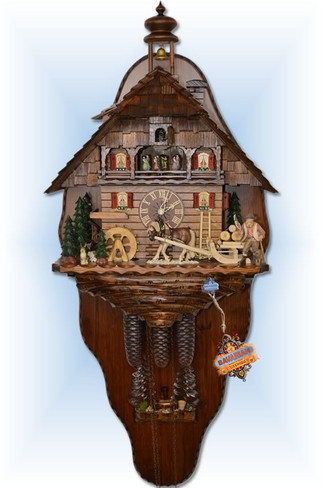 August Schwer   5.8861.01.P2   27 inch   Mounted Timber Haul    Chalet   cuckoo clock   full view