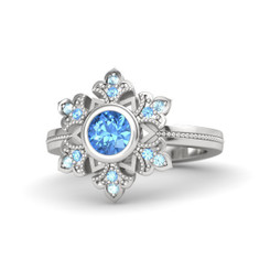 Disney Frozen Simulated Aquamarine Queen Elsa Snow Flake Ring set in Sterling Silver