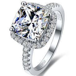 3CT Center NSCD Simulated Diamond Cushion Cut Diamond Engagement Wedding Ring! - SHOWSTOPPER