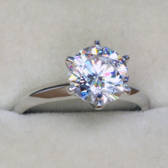 NSCD Simulated Diamond 2CT Solitaire 6 Prong Engagement Wedding Ring