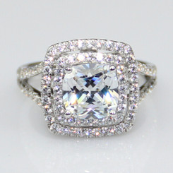 3.75CTTW 3CT Center Cushion Cut NSCD Simulated Diamond Halo Engagement Wedding Ring!