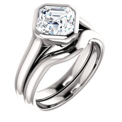 Moissanite Antique Cut Custom Made Bezel Set Engagement Wedding Ring w/ Accent Diamonds!!