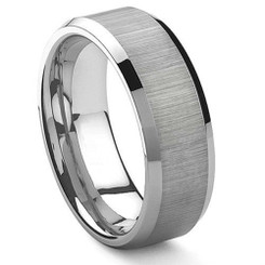 8mm Tungsten Carbide Wedding band w/ Brushed Center Polished Outer