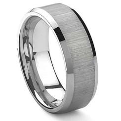 8mm Tungsten Carbide Wedding band w/ Brushed Center
