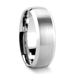 8mm Tungsten Carbide Domed Wedding band w/ Brushed Center