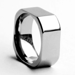 8mm Tungsten Carbide Squared Wedding Band Polished