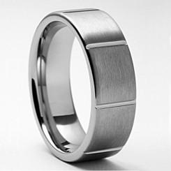 8mm Tungsten Carbide Ridged Wedding Band W/ Brushed Top