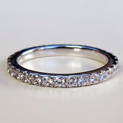 14K White Gold Simulated NSCD SONA Diamond .55CTTW Round Cut Ladies Wedding Eternity Band