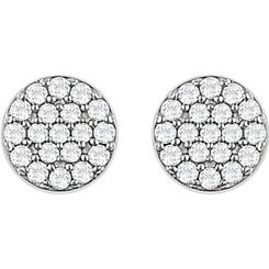 14kt White 1/3 CTW Diamond Cluster Earrings