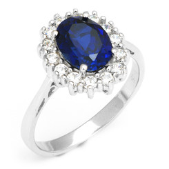 .925 Sterling Silver Created White & Blue Oval Sapphire Ring Princess Diana Inspired