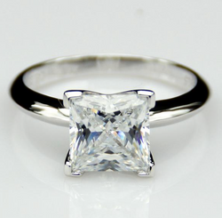 3CT NSCD Simulated Diamond Princess Cut Solitaire Wedding Engagement Ring!!