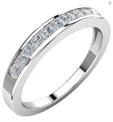 14K White or Yellow Gold 1/2CTTW Princess Cut Diamond Channel Set Wedding Band