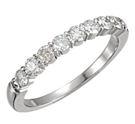 14K White 1/2CTTW Round Cut Diamond 8 Stone Prong Set Wedding Band