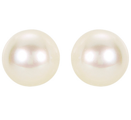 14K White Gold 5mm Akoya White Cultured AA Pearl Stud Earrings