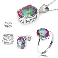 "Sterling Silver Mystic Topaz Oval Cut 3 Piece Set - Ring, Pendant & Earring Set - 18"" Chain"