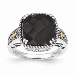 Shey Couture™ Sterling Silver W/14k Onyx Ring East West Set