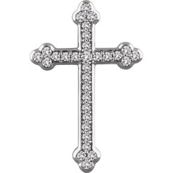 "14K White Gold 1/4CTTW Diamond Cross Pendant w/ 18"" Cable Chain - Unique!"