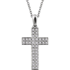 "14K White Gold 1/4CTTW Diamond Cross Pendant w/ 18"" Cable Chain - STUNNING!"