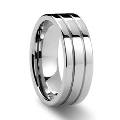 8mm Tungsten Carbide Mirror Finish Grooved Wedding Band