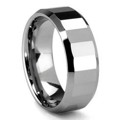 8mm Tungsten Carbide Polished Beveled Finish Wedding Band