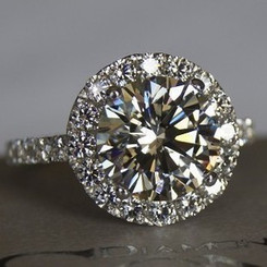 3.5CTTW 3CT Center NSCD Simulated Diamond Round Brilliant Cut Halo Engagement Ring - VIDEO BELOW