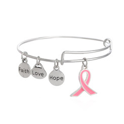 Adjustable Breast Cancer Awareness Stainless Steel Ladies Bangle Bracelet - Donating To AACR